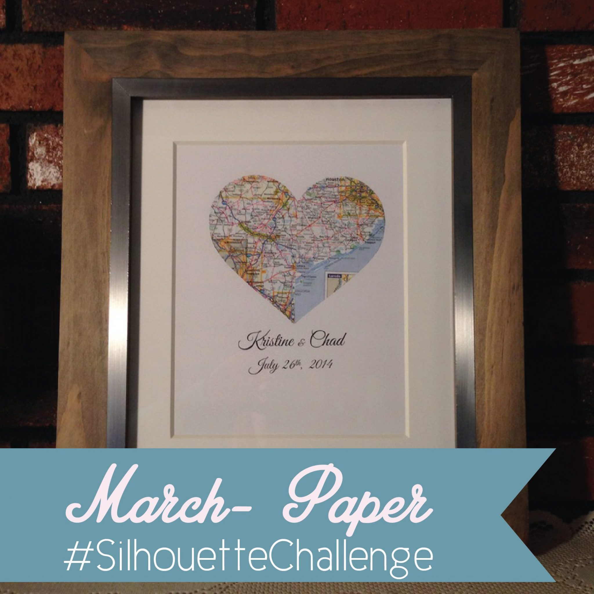 March Silhouette Challenge– Wedding Shower Gift Heart Map