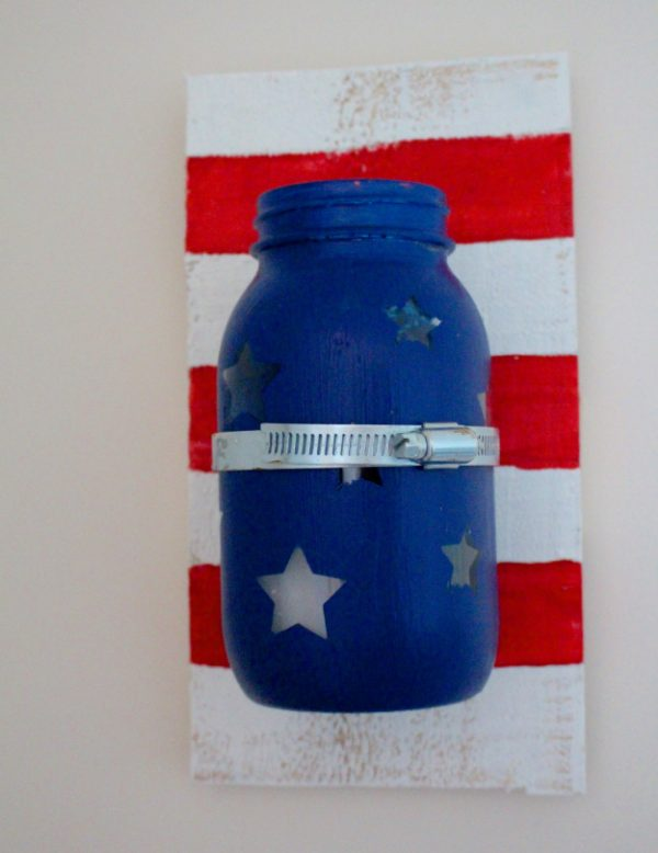 Patriotic Mason Jar Candle Sconce