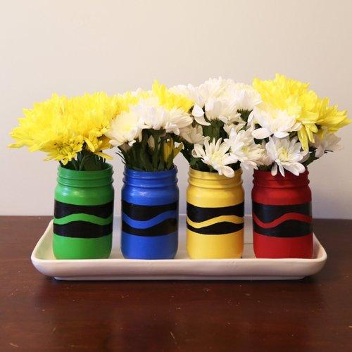 Painted Crayon Mason Jars