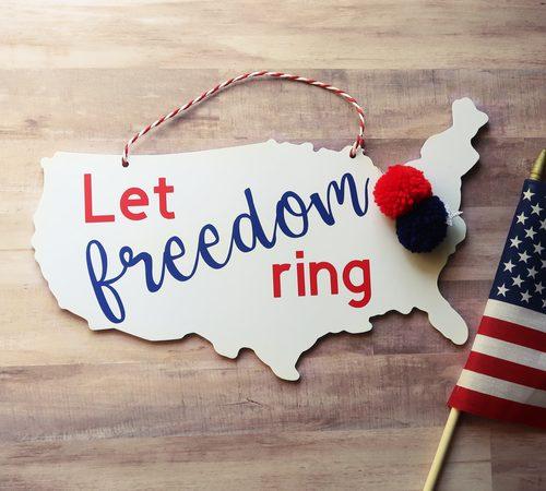 """""""Let Freedom Ring"""" USA Patriotic Wooden Door Hanger"""