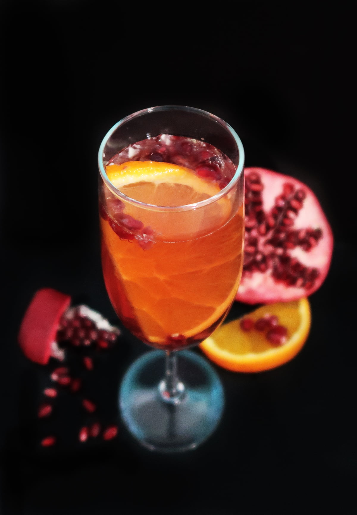 Pomegranate prosecco cocktail