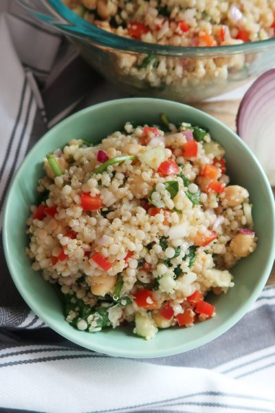 finished couscous and quinoa salad