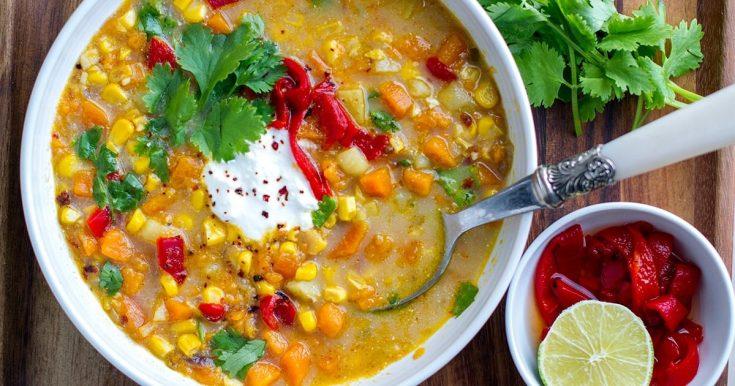 Instant Pot Corn, Sweet Potato & Chipotle Soup