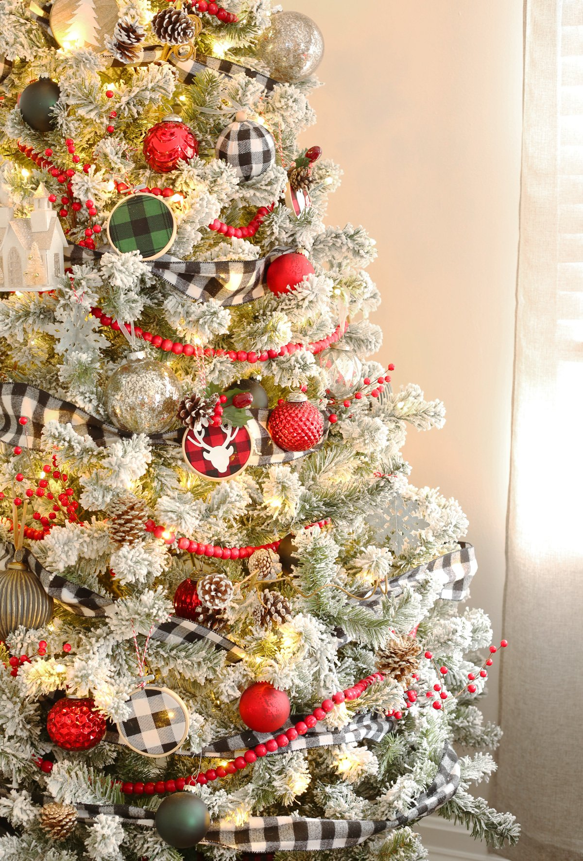 A Buffalo Check Flocked Christmas Tree Weekend Craft