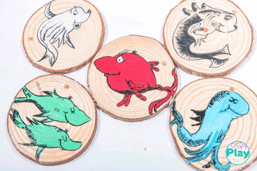 Dr Seuss Inspired One Fish Two Fish Wooden Slices Craft