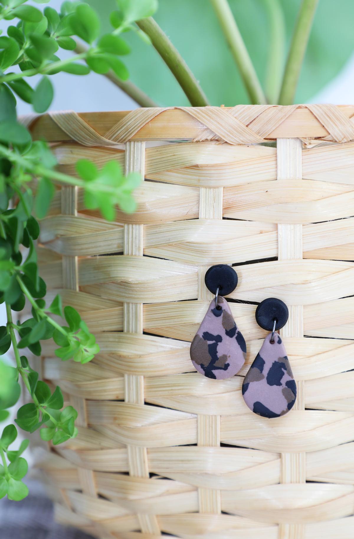 leopard print polymer clay earrings