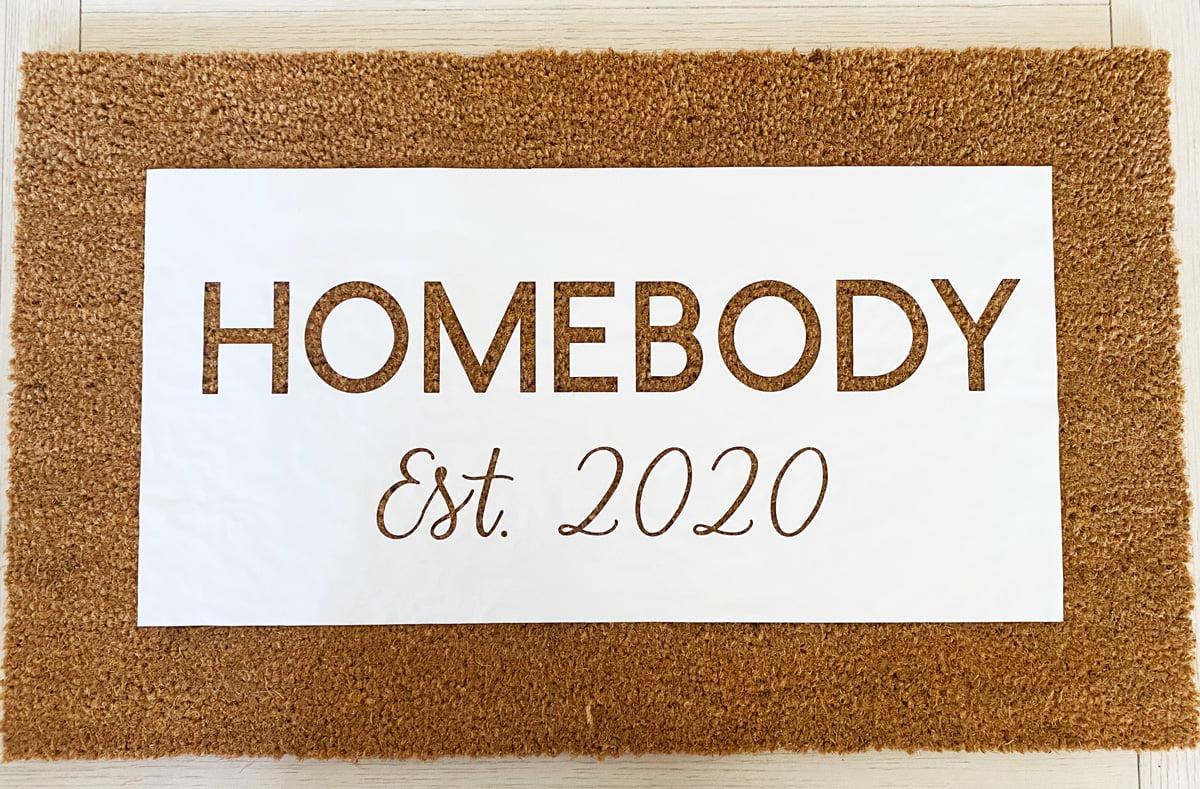 Stencil for doormat