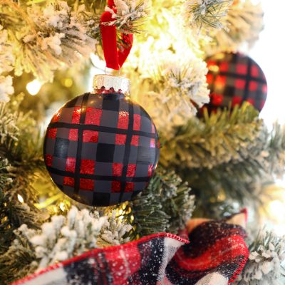 Plaid Painted Ornaments