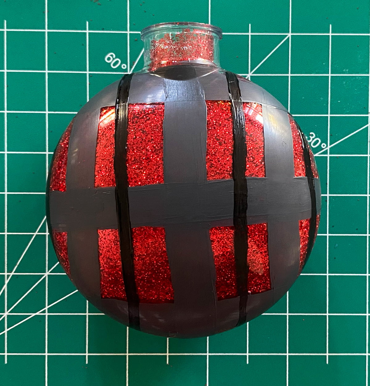 Plaid Painted Glass Ornaments