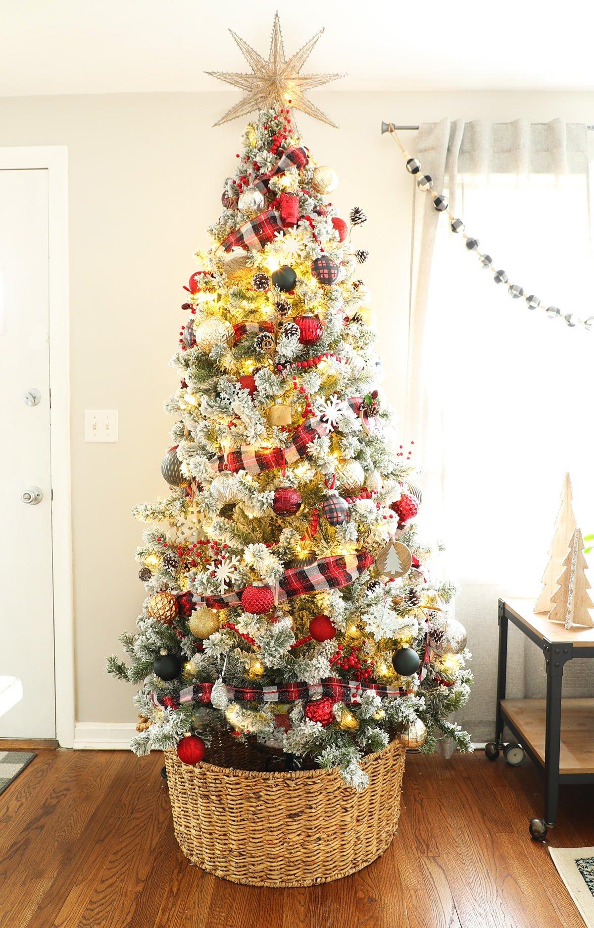 Flocked Christmas Tree with Plaid Ribbon