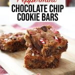candy cane chocolate chip cookie bars