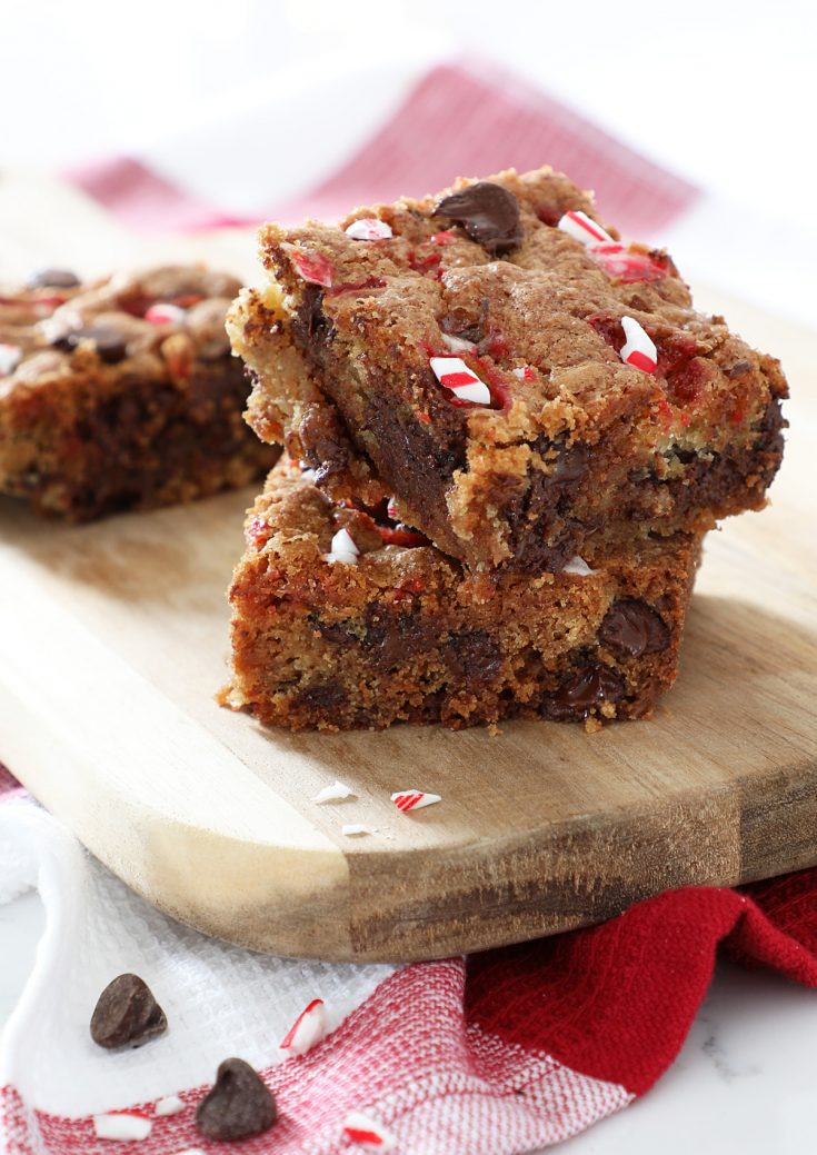 peppermint chocolate chip cookie bars