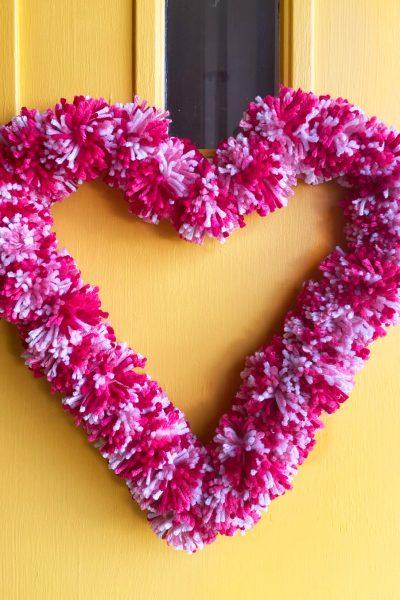 heart pom pom wreath
