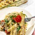 Mushroom Spinach Baked Feta Pasta