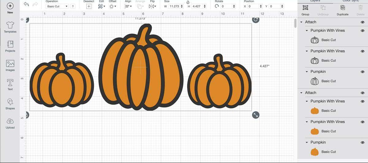 Pumpkins in Cricut Design Space